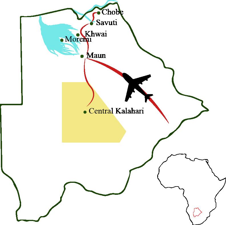 Botswana-Karte-Natur-Wildtiere