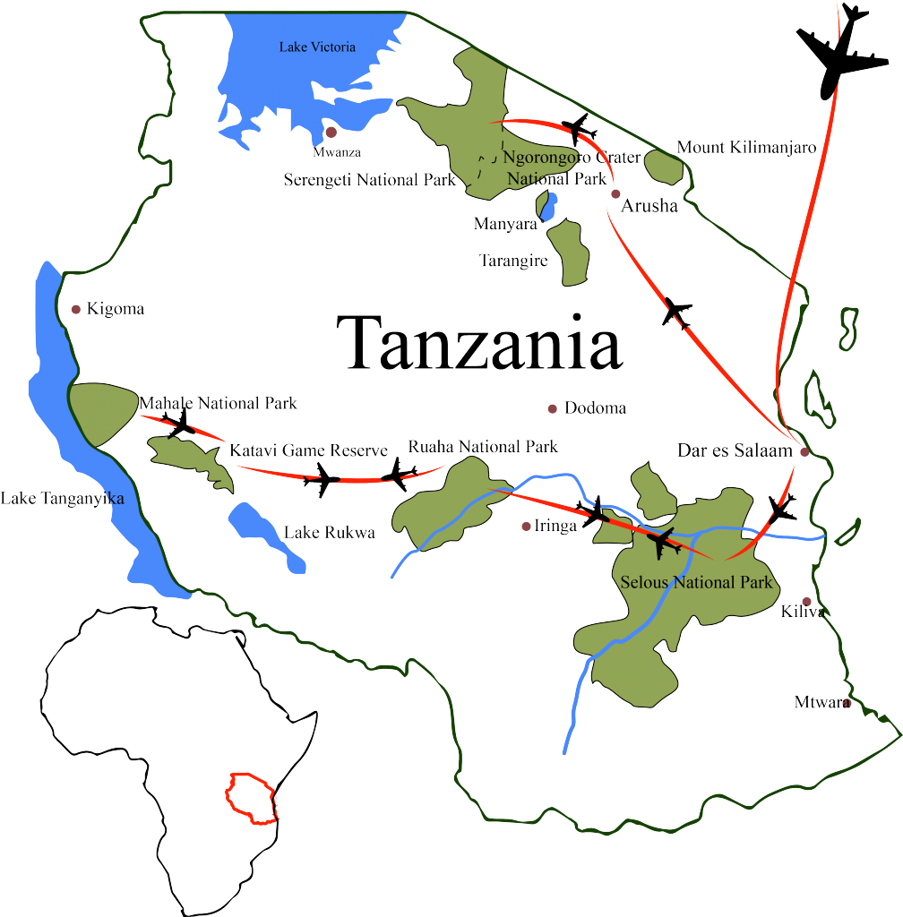 Map-Tanzania-wildlife-nature