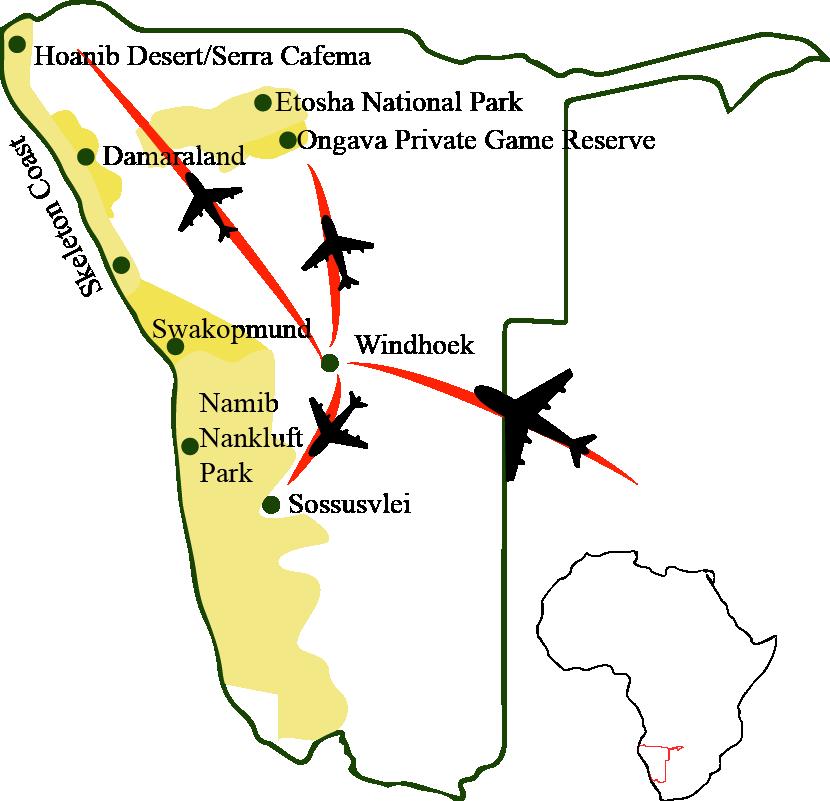 Namibia-Karte-Natur-Wildnis