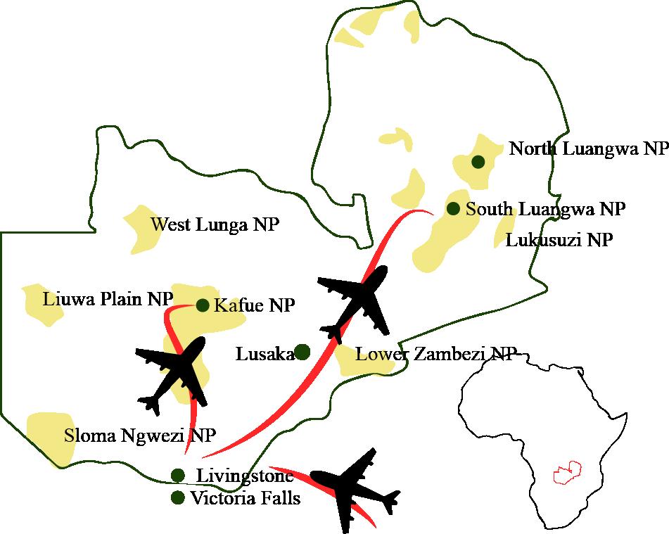 Sambia-Karte-Natur-Wildleben