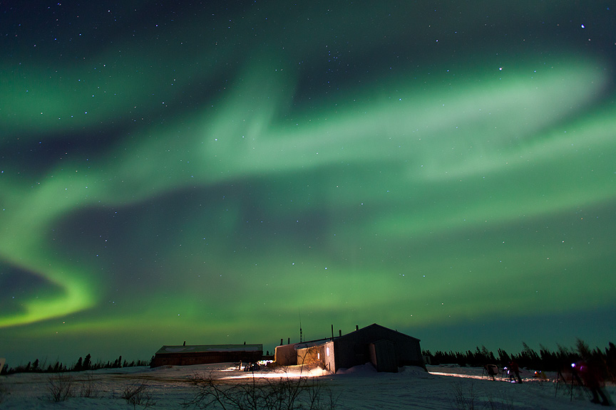 CM Travels | Canada | Northern lights (aurora borealis) over Watchee Lodge in northern Manitoba